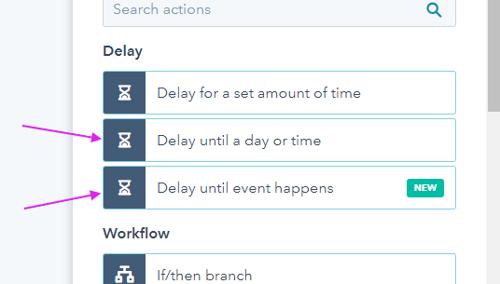 Možnosti zakasnitev (delay) v HubSpotovih workflowih