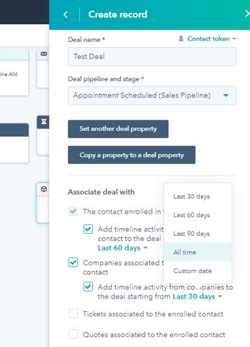 Usklajevanje aktivnosti, povezanih s kontaktom in podjetjem, s katerim je povezan deal, ki se je ustvaril z workflowom