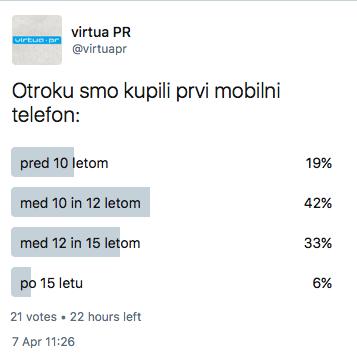 Odgovori na anketo: kdaj ste otroku kupili prvi mobilni telefon