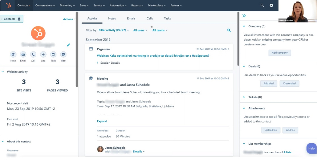 Screenshot of HubSpot CRM. Contacts page