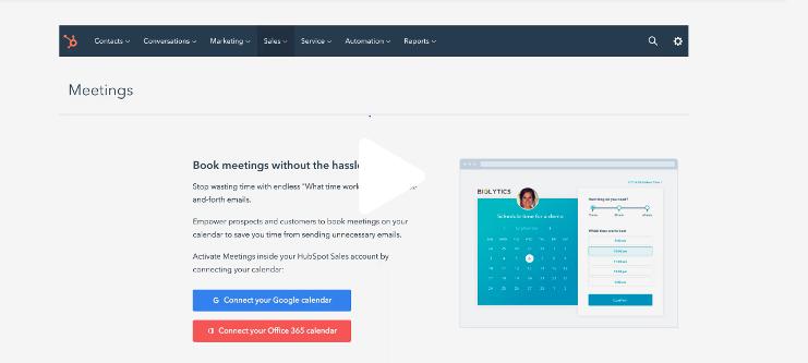Screenshot of meetings functionality in HubSpot